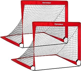SONGMICS Folding Children's Soccer Goal Set of 2, Garden...