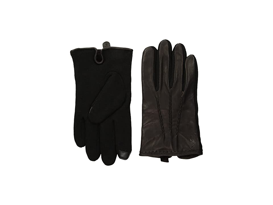 Polo Ralph Lauren Hand Stitched Nappa Touch Gloves (Black/Black) Wool Gloves