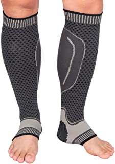 Calf Compression Sleeves - for Recovery, Varicose Veins, Shin Splint &Calf Pain Relief. Calf Support Leg Compression Socks for Running Cycling Sports Women Men (Grey-Updated, Large)