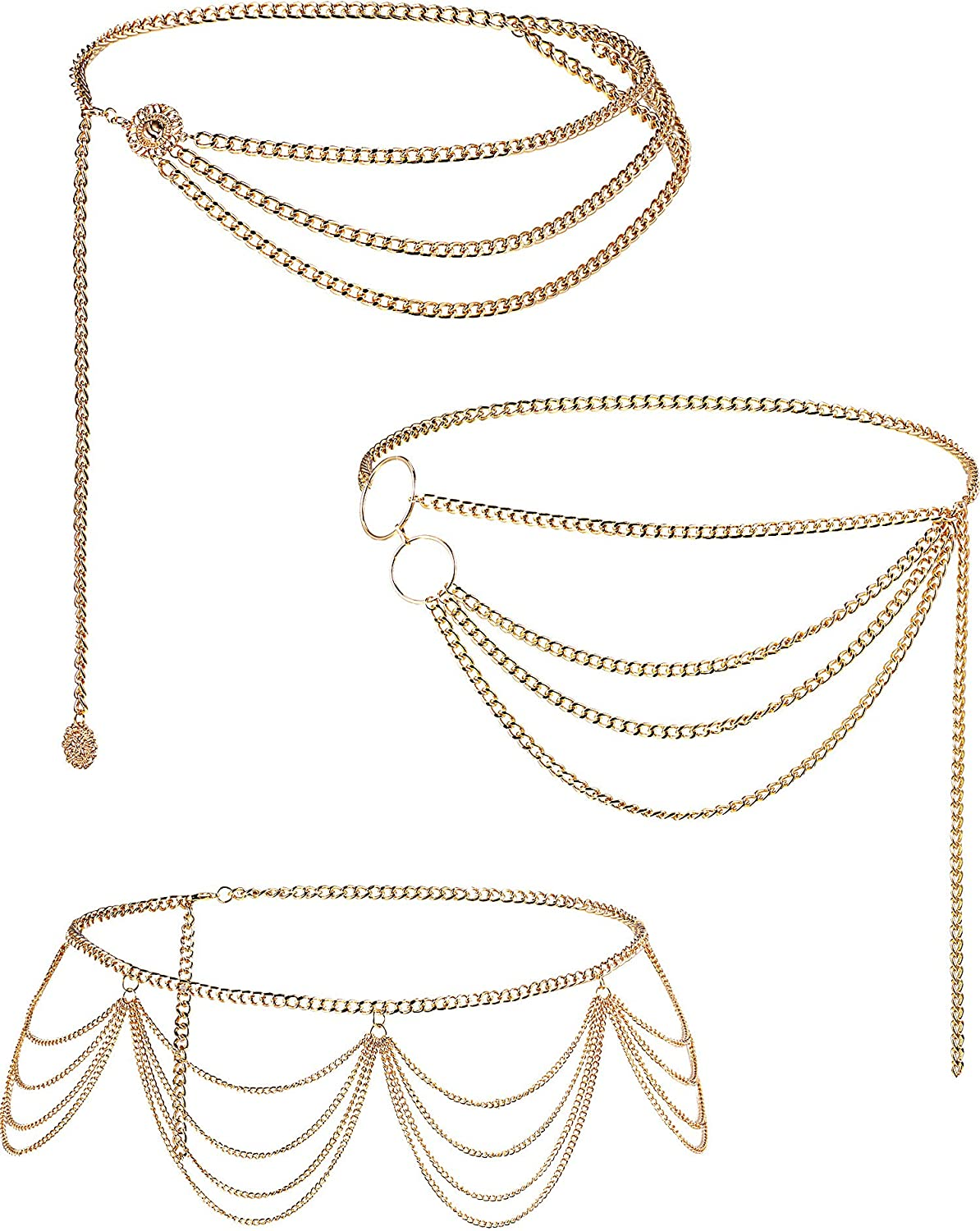 Hicarer 3 Pieces Belly Waist Chain Multi-Layer Metal Waist Chain Body Summer Beach Jewelry for Women and Girls, Tassel Style