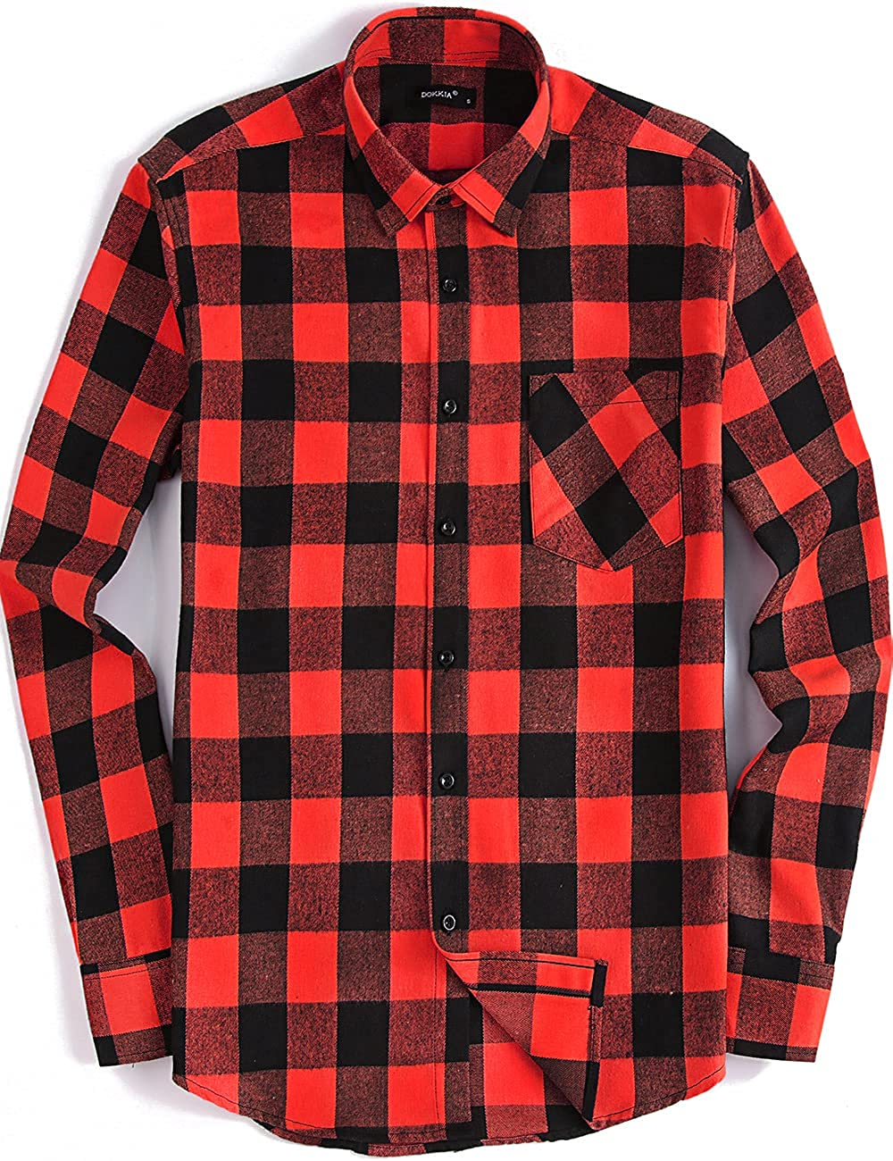 DOKKIA Men's Casual Dress Buffalo Plaid Long Max Selling and selling 85% OFF Button Sleeve Up Fl