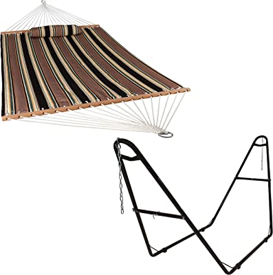 Sunnydaze Sandy Beach 450-Pound Capacity Outdoor Quilted Fabric Hammock 2-Person with Spreader Bars and 550-Pound Capacity Bronze Universal Multi-Use Heavy-Duty Steel 2-Person Hammock Stand Bundle