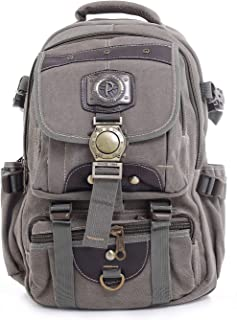 Parajohn 18'' Canvas Leather Backpack - Travel Backpack/Rucksack –Casual Daypack College Campus Bookbag -Comfortable Light...