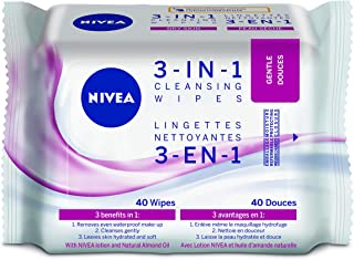 NIVEA 3-in-1 Gentle Cleansing Wipes for Dry Skin, 40 wipes