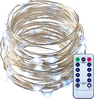 ITART LED String Lights with Remote,Dimmable Cool White Mini Fairy Twinkle Lights Battery Operated 50 LEDs 16.7ft Super Bright Ultra Thin Silver Wire Rope Lights for Trees Wedding Bedroom Garden