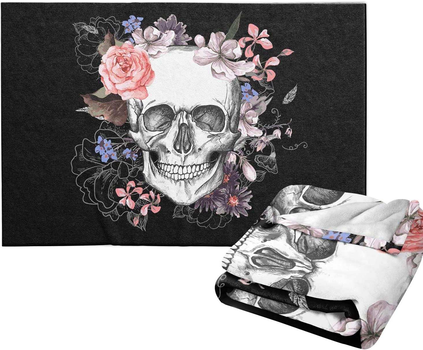 Max 51% OFF JASMODER Throw Blanket Sugar Skull Soft Spring new work one after another Ligh and Rose Microfiber