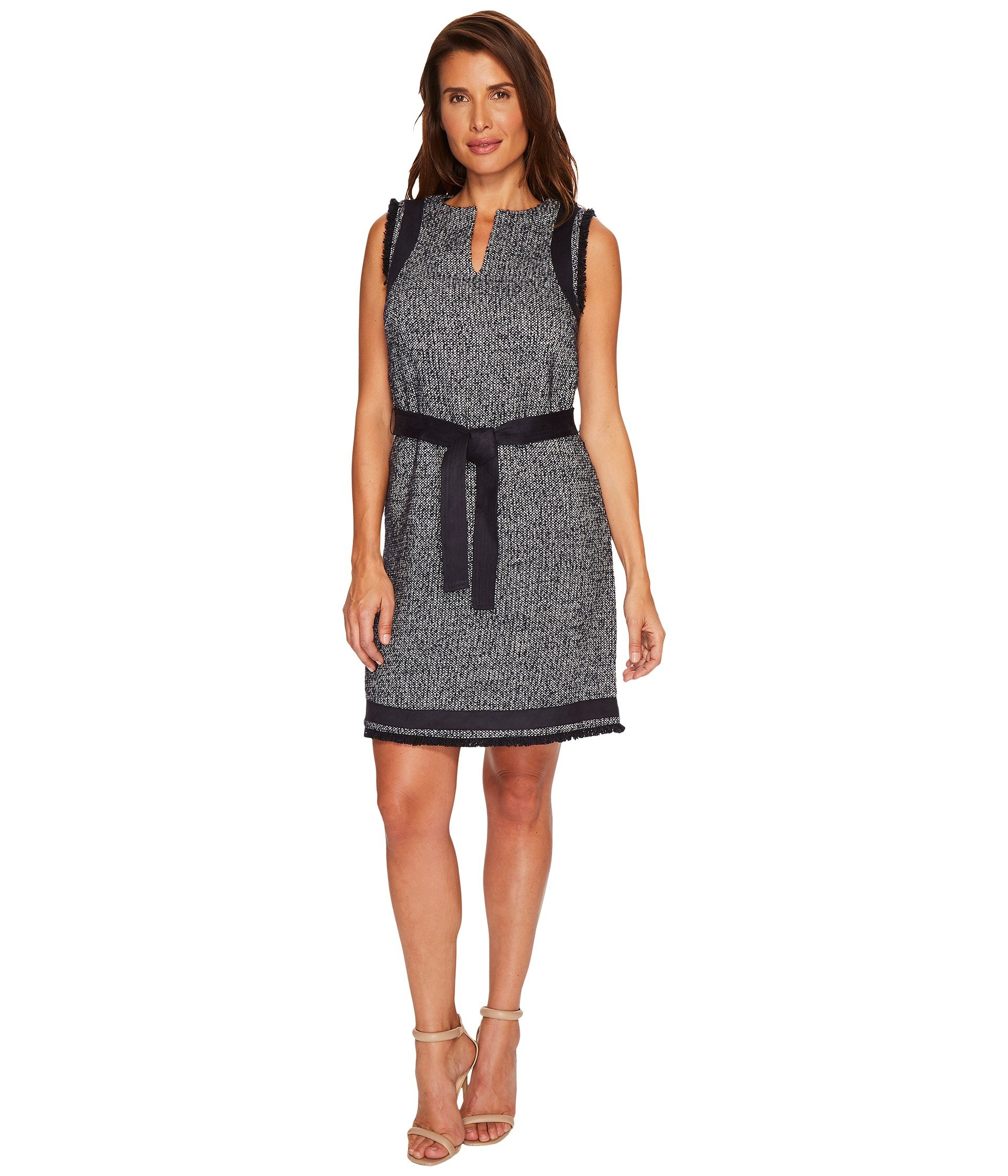 ELLEN TRACY Split-Neck Shift Dress, Night Sky Multi