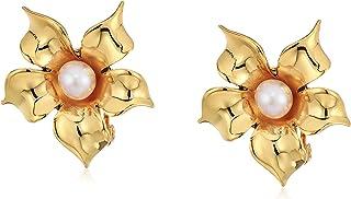 Badgley Mischka 花珍珠卡夹式耳环