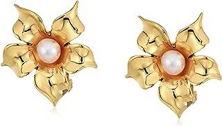 Flower Pearl Clip-On Earrings