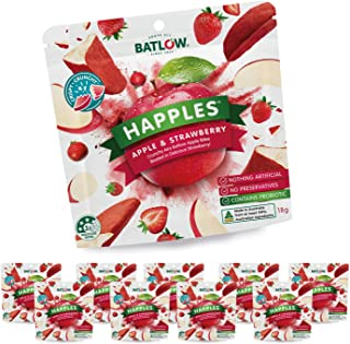 Batlow Happles Apple and Strawberry Freeze Dried Apple Slices Coated in Strawberry Powder (10 Packs x 18gm in a Carton)