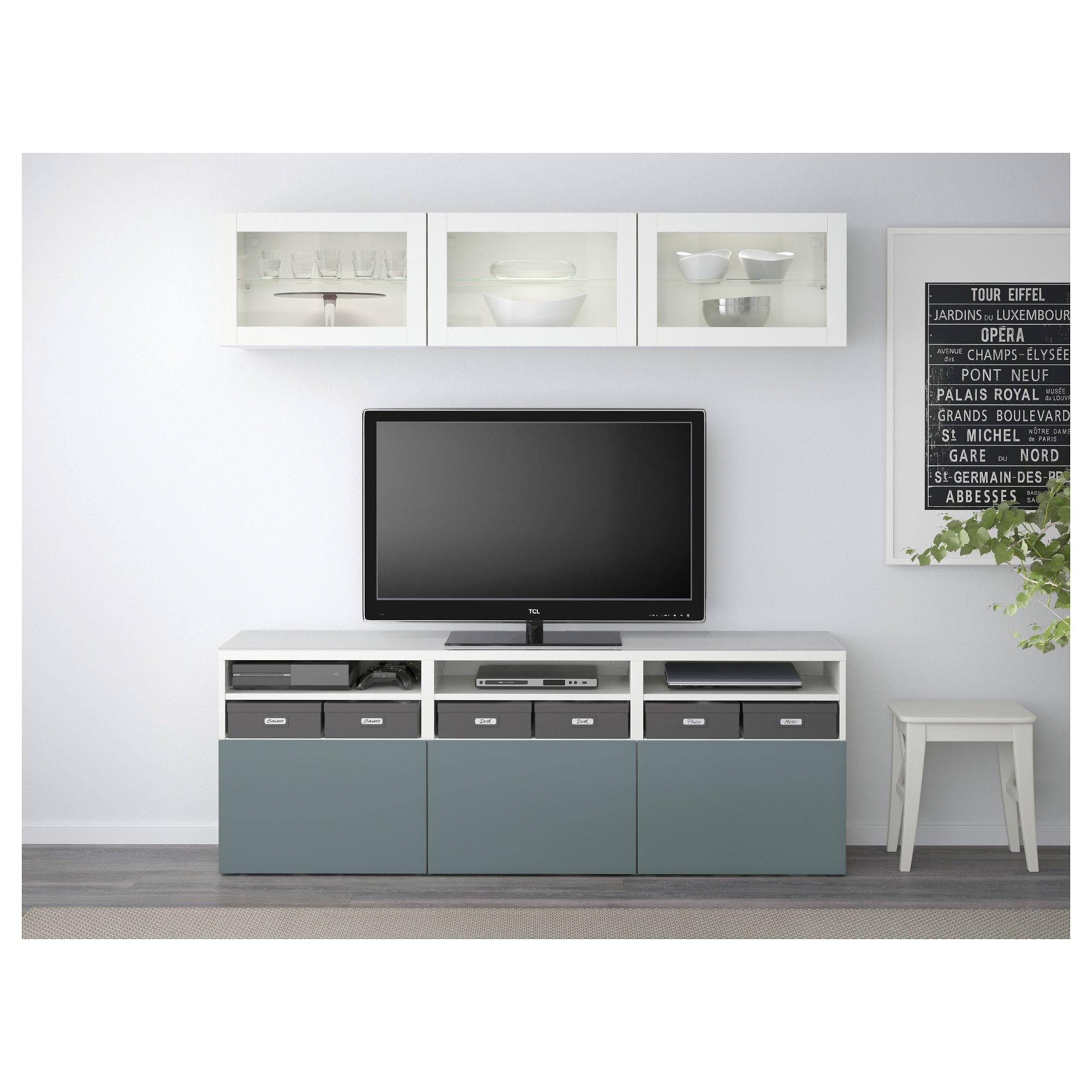 IKEA BESTA - almacenamiento combinación de TV / puertas de vidrio blanco / gris claro valviken vidrio-turquesa: Amazon.es: Hogar
