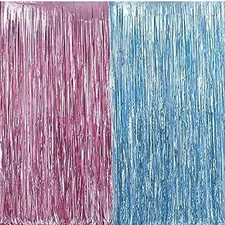 Metallic Tinsel Foil Fringe Curtains 3.2 ft x 6.6 ft Baby Shower Gender Reveals Party Decoration Party Photo Backdrop (Pink/Blue)