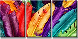 SEVEN WALL ARTS - Modern Still Life Art Picture Colorful Feathers Canvas Print Stretched and Framed Rainbow Color Artwork for Kitchen Room Décor 20 x 28 Inch x 3Pcs