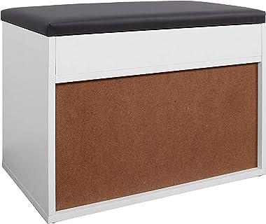 RICOO WM032-W-A Meuble à Chaussures 60x42x30cm Bois Blanc Banc Coffre Rangement Commode Banquette Meuble de Rangement Chaussu