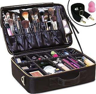 Daniel Harris Makeup Bag/Cosmetic bag | Makeup Case with Adjustable Dividers | Use as Travel Make up Bag Organizer |Portable + Water-Resistant Makeup Bags for Women + Free Makeup Sponge. (LARGE)
