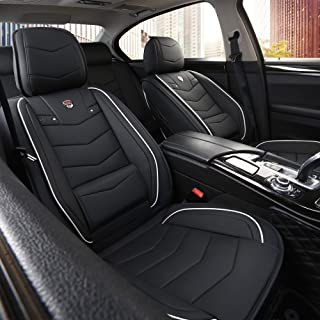 INCH EMPIRE Car Seat Cover-Water Proof Leatherette Cushion with Built-in Lumbar Support Front and Back Fit for Sedan SUV T...