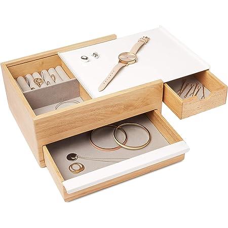 Umbra Stowit - Grande boîte à bijoux en bois blanc et naturel