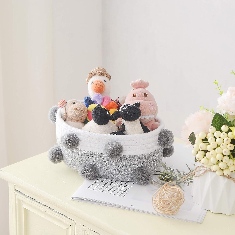 Shelf Gift Grey//White Cotton Rope Home Pet Enzk/&Unity Storage Basket Set of 3 Small Basket for Baby Pom Pom Baby Organizer