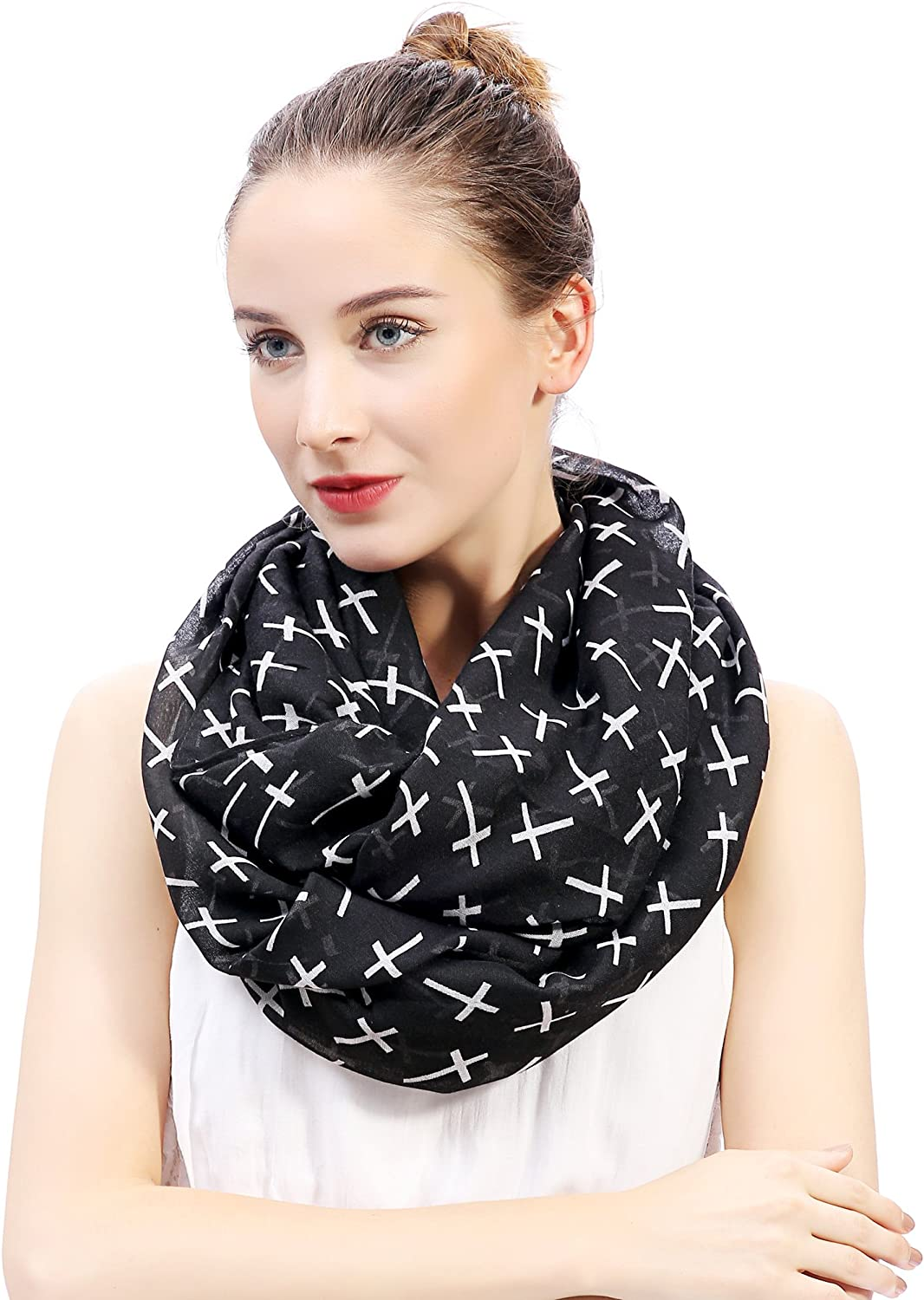 Lina & Lily Cross Print Infinity Loop Scarf for Women Lightweight