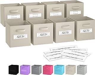Royexe - Storage Cubes - (Set Of 8) Storage Baskets | Features Dual Handles & 10 Label Window Cards | Cube Storage Bins | Foldable Fabric Closet Shelf Organizer | Drawer Organizers And Storage (Beige)