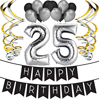 25th Birthday Party Pack - Black & Silver Happy Birthday Bunting, Balloon, and Swirls Pack- Birthday Decorations - 25th Birthday Party Supplies