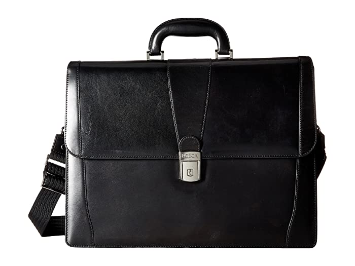 Bosca  Old Leather Collection - Double Gusset Briefcase (Black Leather) Briefcase Bags
