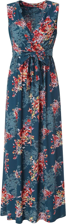 BEAUTIFULLIFE Women's Summer Casual Sleeveless Floral Print Spring Summer Dress Beach Skirt