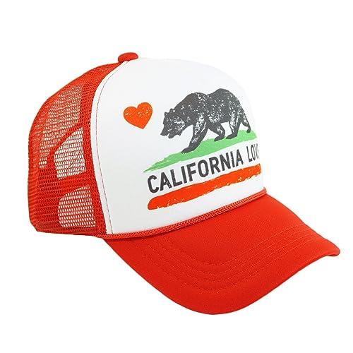 27538528342 California Love Printed Mesh Hat Heart Bear Trucker Adjustable Baseball Cap