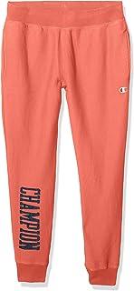 Champion LIFE Mens P4455 Vintage Wash Reverse Weave® Jogger - Satin Block Text Sweatpants - Orange - X-Small