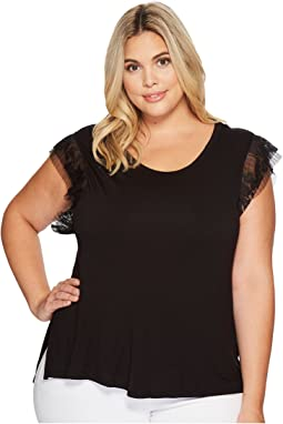B Collection by Bobeau - Plus Size Alden Tee with Mini Pleat Trim
