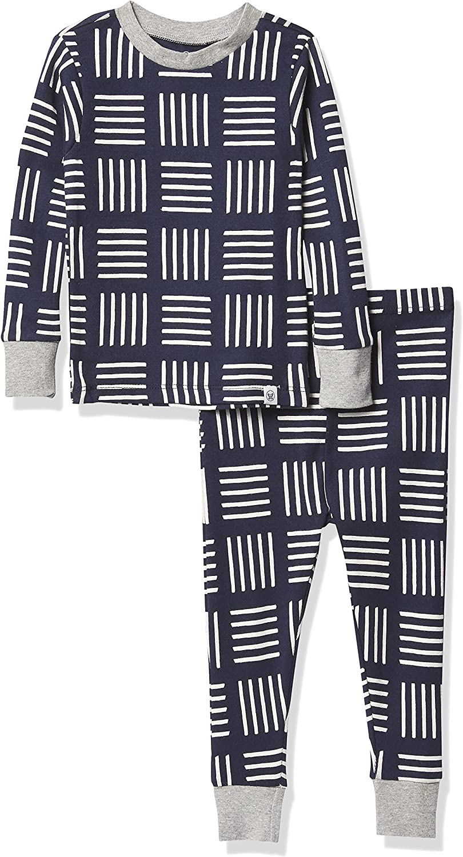HonestBaby Baby Organic Cotton 2-Piece Snug Fit Pajama Set, Sketchy Square Dark Navy, 18 Months