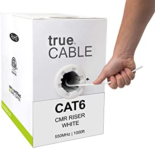 trueCABLE Cat6 Riser (CMR), 1000ft, White, 23AWG 4 Pair Solid Bare Copper, 550MHz, ETL Listed, Unshielded Twisted Pair (UTP), Bulk Ethernet Cable