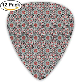 Ceramic Tile With East Pattern Heritage Oriental Tradition Culture Travel Ornate Guitar Picks 12/Pack Set