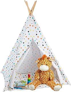 Relaxdays tipi-tält, speltält med golv, inklusive bärväska, wigwam barntält, H x BxT: 160 x 115 x 115 cm, vit färgglad