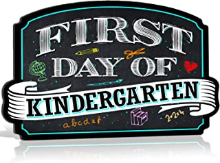 Bigtime Signs First Day of Kindergarten Sign Board Plaque Back to School Sign for use as Photo Prop for a Boy or Girl 10 inches x 15.5 inches (Kindergarten)