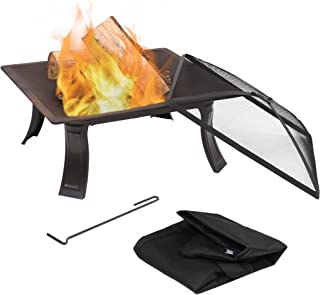 Sunnydaze Square Portable Campfire On-The-Go Outdoor Wood Burning Fire Pit with Spark Screen and Carrying Case - 26-Inch