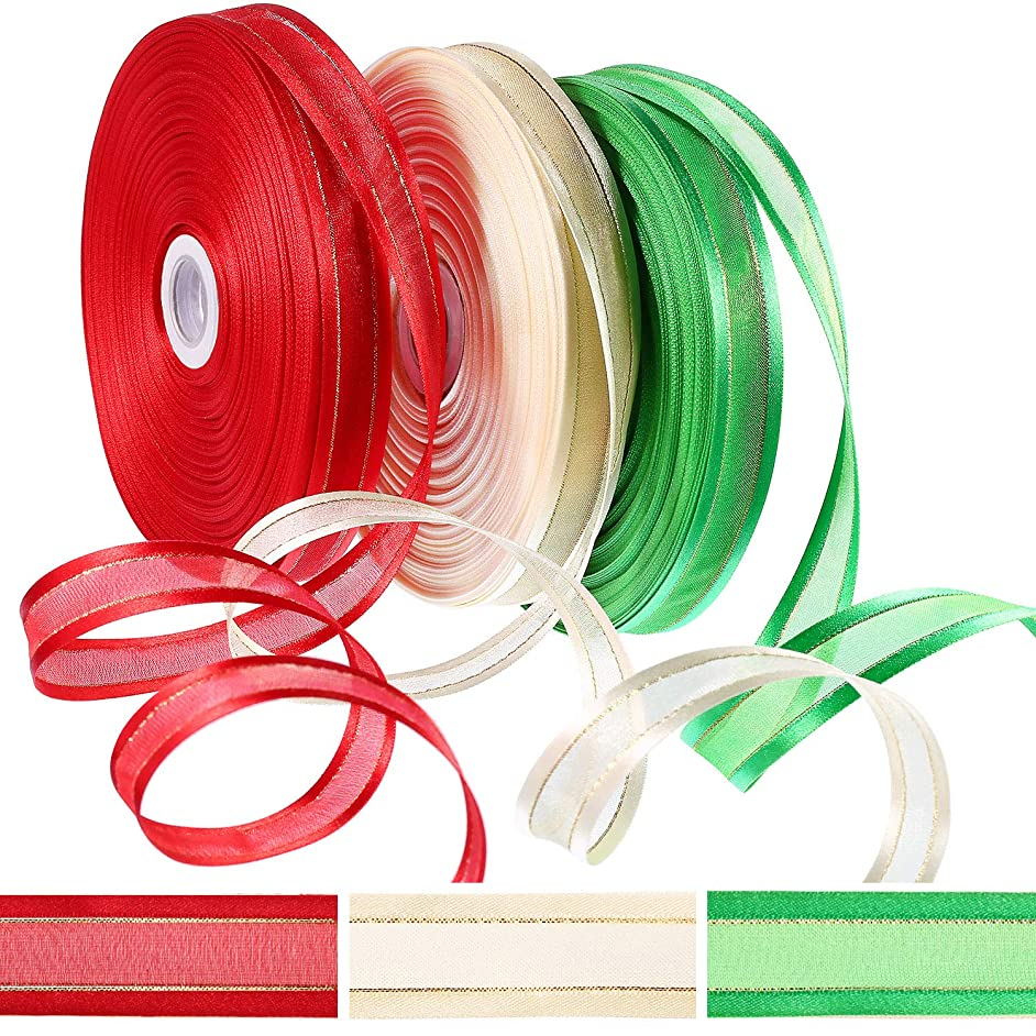 Tatuo 150 Yards Christmas Satin Edge Organza Ribbon Gift Ribbons with Gold Glitter Edges for Christmas Gift Wrapping Christmas Decoration (Red, Green and Ivory, Each Color 50 Yards)