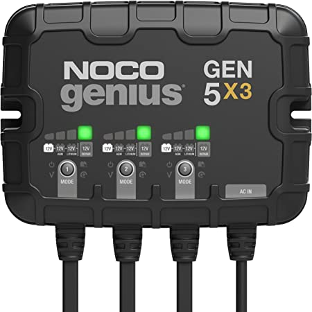 NOCO Genius GEN5X3, 3-Bank, 15-Amp (5-Amp Per Bank) Fully-Automatic Smart Marine Charger, 12V Onboard Battery Charger, Battery Maintainer And Battery Desulfator With Temperature Compensation