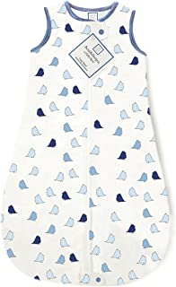 SwaddleDesigns Cotton Sleeping Sack with 2-way Zipper, Made in the USA, Premium Cotton Flannel, True Blue Little Chickies, 0-6MO