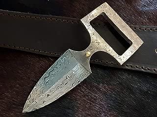 Beautiful Custom Handmade Damascus Steel Hunting Knife. Brown Leather. Sword/Chef Kitchen Knife/Dagger/Full Tang/Skinner/Axe/Billet/Cleaver/Bar/Folding Knife/Tactical EDC & Tool/Kukri/Knife, Safety