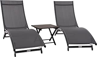 Vivere CORL3-GB Coral Springs Lounger, Grey