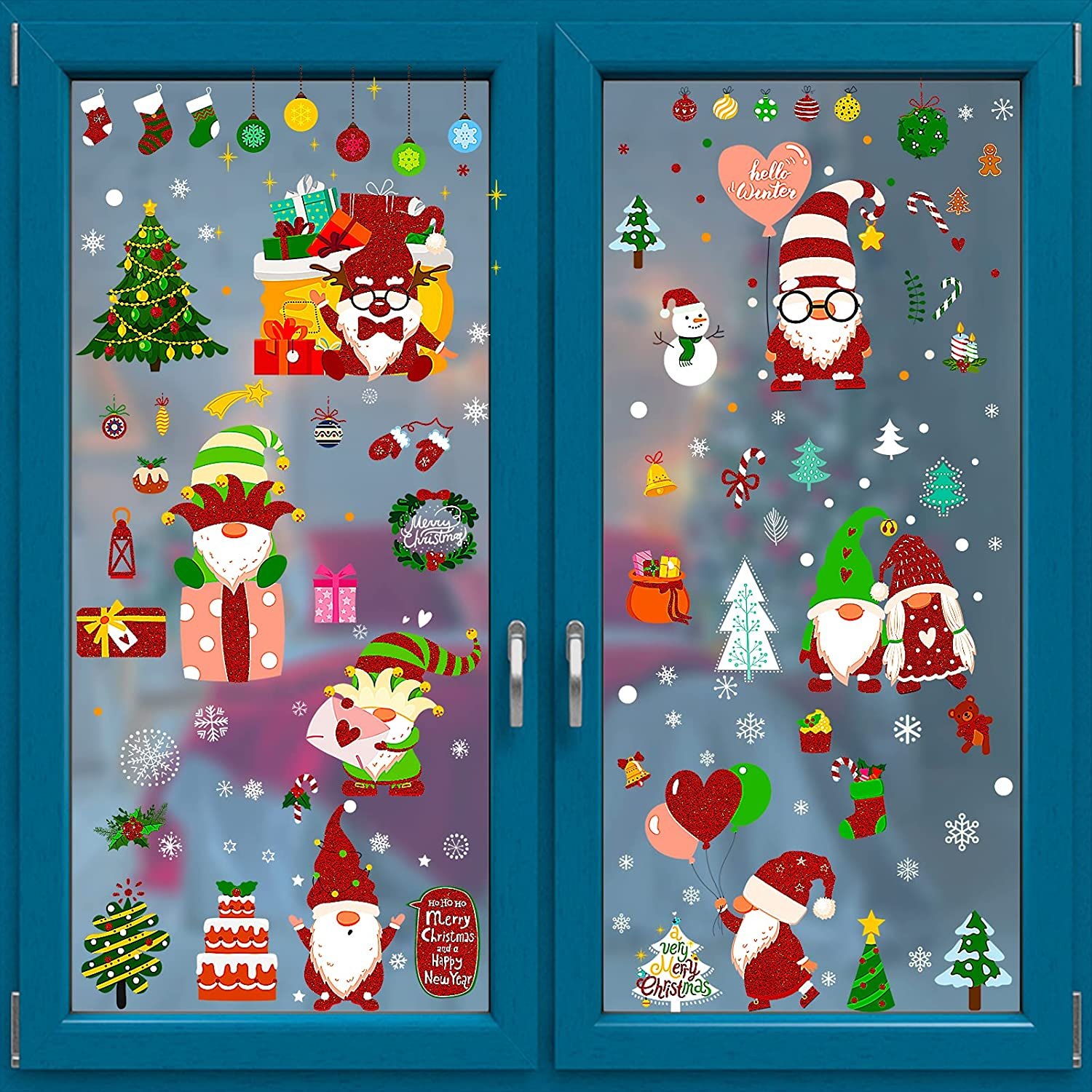 150Pcs Christmas Window Clings with Glitter Red, 9 Sheets Gnomes Santa Snowflake Window Decal Stickers Double Sided Xmas Holiday Home Decorations for Glass Windows