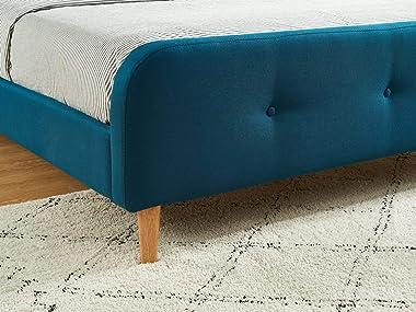 HOMIFAB Lit Adulte scandinave en Tissu Bleu Canard capitonné, sommier à Latte, 160x200 - Collection Mark
