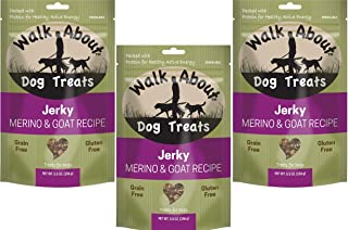 Walk About Jerky Dog Treats, 3 Pack of 5.5 Ounces each, Merino and Goat Single Protein Treats for Dogs with Allergies and ...