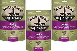 Walk About Jerky Dog Treats, 3 Pack of 5.5 Ounces each, Merino and Goat Single Protein Treats for Dogs with Allergies and Sensitivities