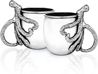 Moscow Mule Mugs With Octopus or Elephant Handle - Stainless Steel Mug And Drink Cocktail Set Of 2 - Unique Cocktail Drinking Glasses Set - Exclusive Housewarming Gifts (Octopus Handle)