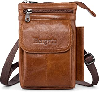 Hengwin Men Purse Crossbody Bag iPhone 11 Pro Max Holster Case with Belt Clip Cell Phone Pouch iPhone XS Max Holster Belt Loop Pouch Case Leather Shoulder Phone Bag iPhone XR Belt Carrying Case Brown