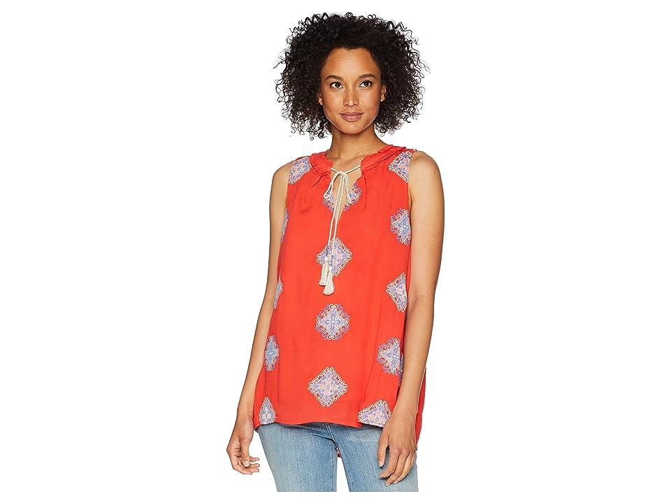 Miss Me V-Neck Tassel Sleeve Top (Coral Orange) Women