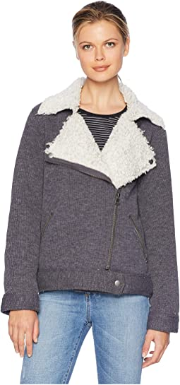 Bonded Shearling Zip Moto Cord Jacket with Shearling Frosty Pile Lining