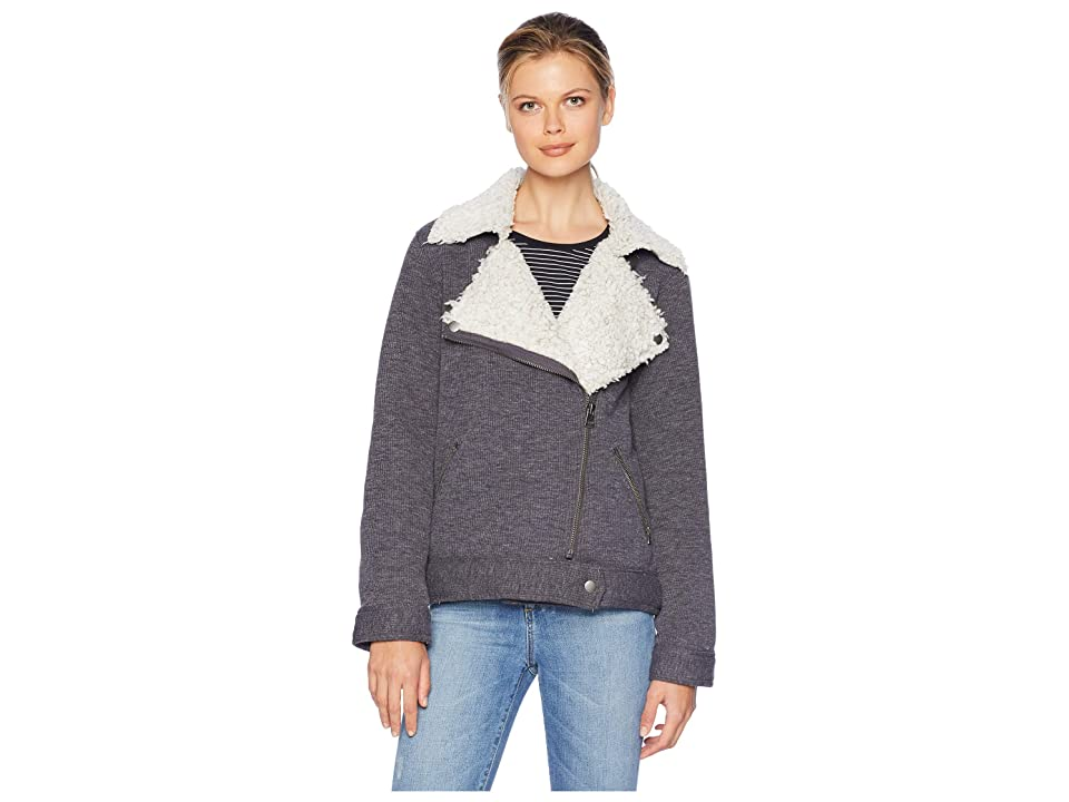 Dylan by True Grit Bonded Shearling Zip Moto Cord Jacket with Shearling Frosty Pile Lining (Charcoal) Women